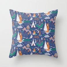 Bear camp Throw Pillow