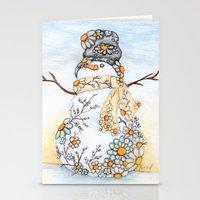 Sunrise Daisy Snowman Stationery Cards