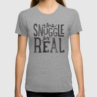 The Snuggle Is Real Womens Fitted Tee Tri-Grey SMALL