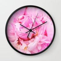 Pretty Pink Peony Wall Clock