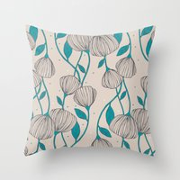 Blue Stem Flowers Throw Pillow