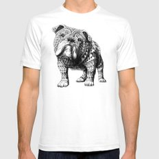 English Bulldog Mens Fitted Tee White SMALL