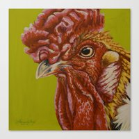 Orange Rooster Canvas Print