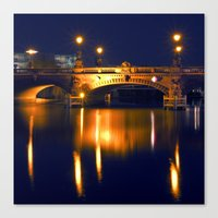 Nocturnal Lights on the river Spree in Berlin Canvas Print