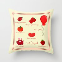 Colors: Red (los Colores… Throw Pillow