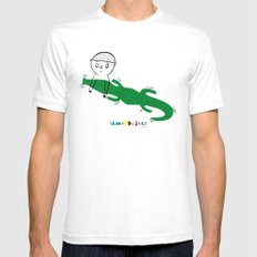 Crocodile Float SMALL White Mens Fitted Tee