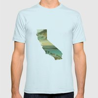 California Collage Mens Fitted Tee Light Blue SMALL