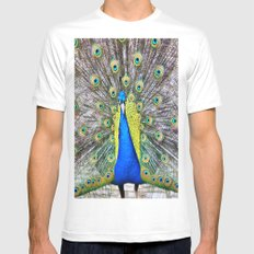 Peacock Display White SMALL Mens Fitted Tee