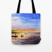Sunset Watercolor Painting Landscape Art Tote Bag
