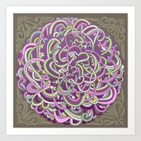 Detailed circlecorner, purple olive  Art Print