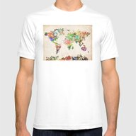 World Map Floral Mens Fitted Tee White SMALL