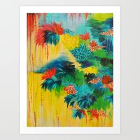 PARADISE WAITS - Beautiful Colorful Tropical Abstract Acrylic Painting Crimson Kelly Green Lagoon Art Print