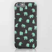 iPhone & iPod Case featuring Indian Baby Elephants Black/Mint by Estelle F