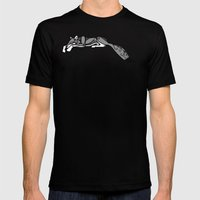 Sleeping Grey Wolf Mens Fitted Tee Black SMALL