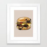 Pugs Burger Framed Art Print