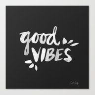 Canvas Print featuring Good Vibes – White Ink by Cat Coquillette