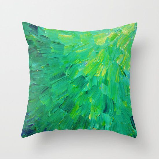 SEA SCALES in GREEN - Bright Green Ocean Waves Beach Mermaid Fins Scales Abstract Acrylic Painting Throw Pillow