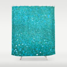 Bright Turquoise Glitter Shower Curtain