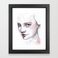 Frozen, quick watercolor portraiture Framed Art Print