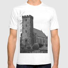 Little Church in Mid Wales Mens Fitted Tee White SMALL