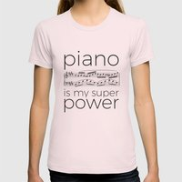 Piano is my super power (white) Womens Fitted Tee Light Pink SMALL