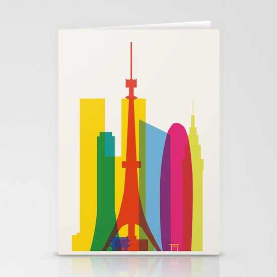 Shapes of Tokyo. Accurate to scale. Stationery Card