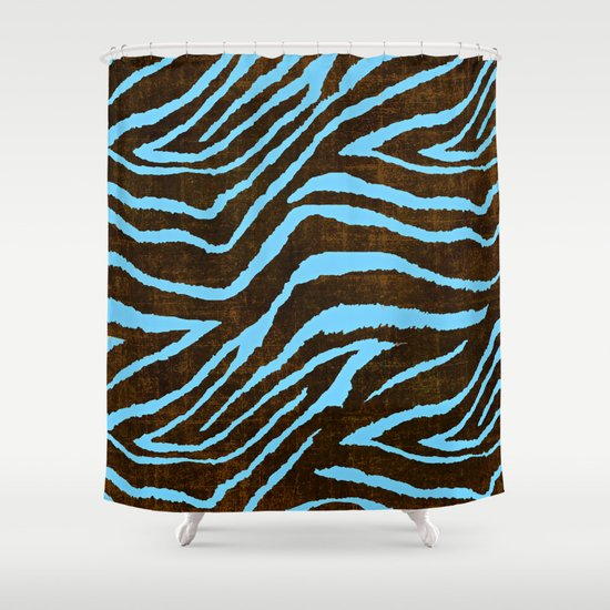 zebra animal print blue and brown shower curtain by
