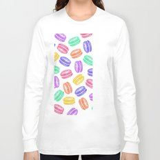 Colorful Hand Painted Watercolor Macaroon Cookies Long Sleeve T-shirt