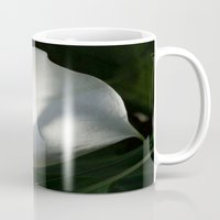 White Calla Lilies Over Black Background In Soft Focus Mug