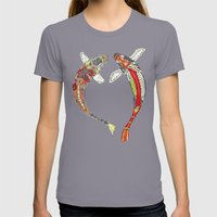 lucky koi off white Womens Fitted Tee Slate SMALL