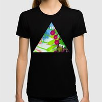 Wave pink Womens Fitted Tee Black SMALL