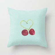 Throw Pillow featuring Cherries by Aubergine & Purple