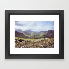 View of mountains on a sunny day. Cumbria, UK. (Shot on film). Framed Art Print