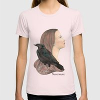 Nevermore Womens Fitted Tee Light Pink SMALL