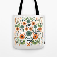 Symmetrical Seventies Birds Tote Bag