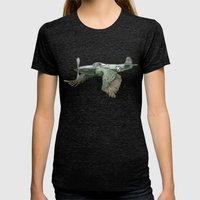 In which it's a bird. It's a plane. (Now in technicolour) Womens Fitted Tee Tri-Black SMALL