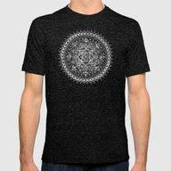White Flower Mandala On … Mens Fitted Tee Tri-Black SMALL