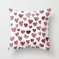 Artsy Hearts Throw Pillow