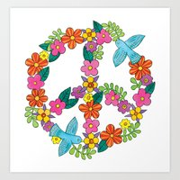 Flower Peace Sign Art Print