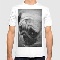 Pug Dog Mens Fitted Tee White SMALL