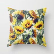 Throw Pillow featuring Sunflowers Forever by Micklyn