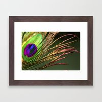 Gold and Lime Peacock Framed Art Print