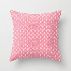 Pink Anchors Pattern Throw Pillow