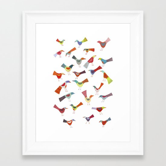 Birds doing bird things Framed Art Print