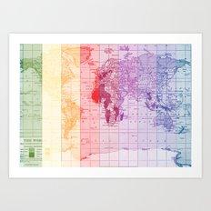 Rainbow World Map Art Print