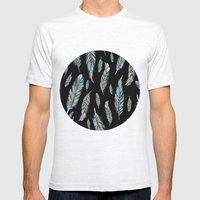 feather black Mens Fitted Tee Ash Grey SMALL