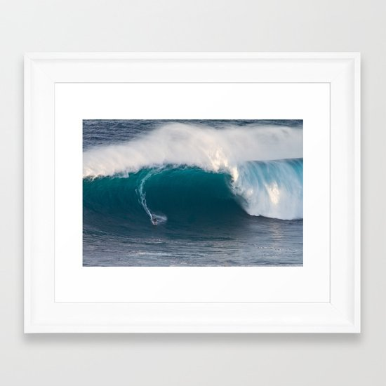 "Surfing ""Jaws"" (Pe'ahi) Framed Art Print"