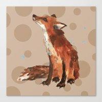 Spotty Fox pillow, FOX cushion, fox painting, woodland nursery art, spots, kids, animal art Canvas Print