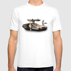 2 Stormtrooopers in a Hover DeLorean  Mens Fitted Tee White SMALL