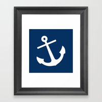 Navy Blue Anchor Framed Art Print